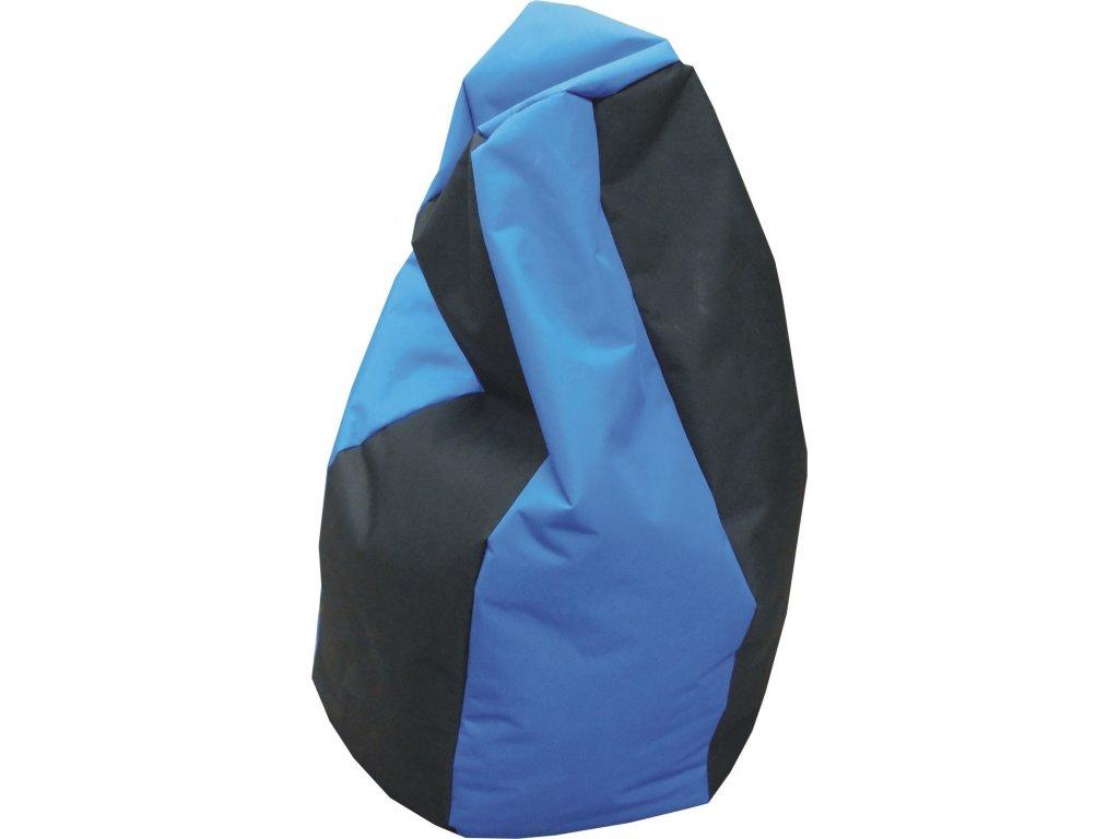 Sedací vak hruška černá/modrá Pepe, 85x65cm