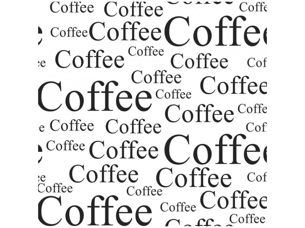 Prostírání plastové s černými nápisy Coffee, 44x28,5cm -Dakls