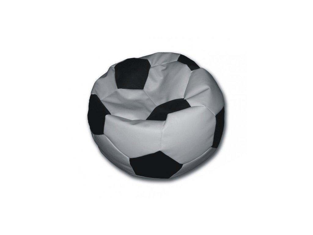 Sedací vak fotbalový míč bílo/černý koženkový Pepe, 90cm