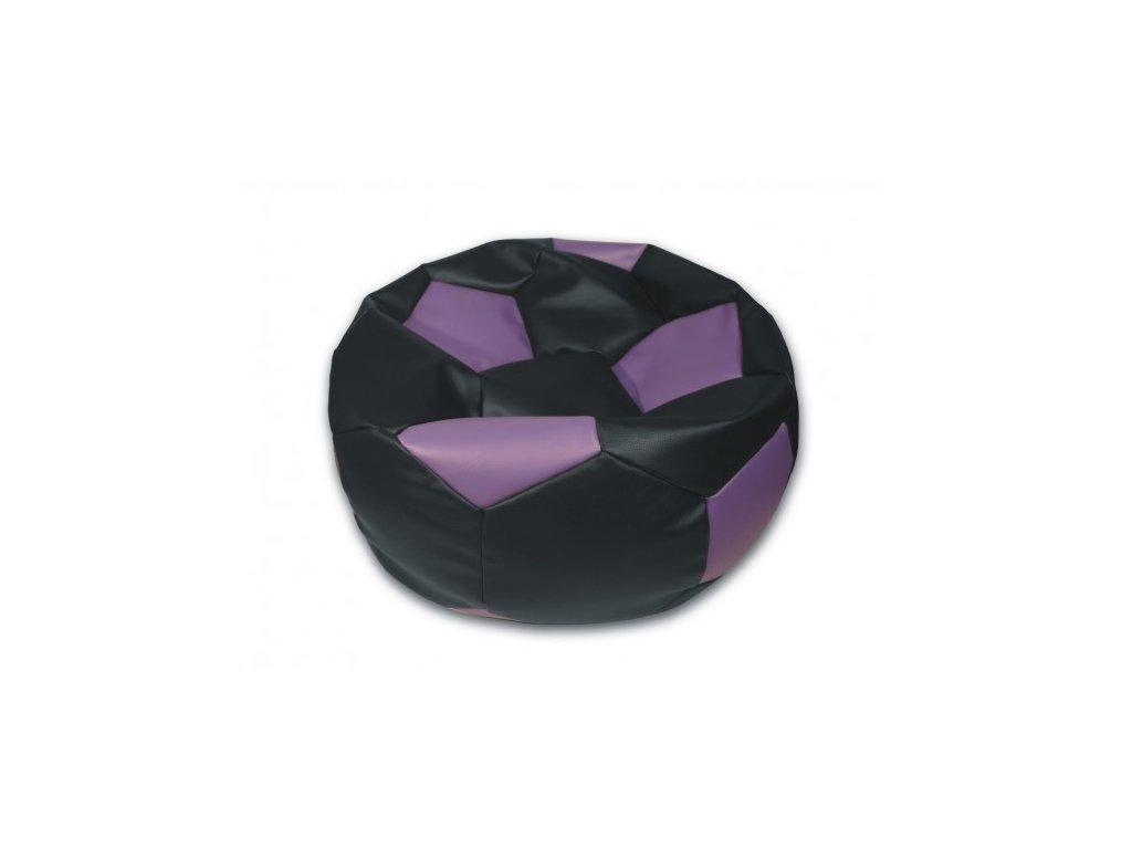 Sedací vak fotbalový míč černo/fialový koženkový Pepe, 90cm
