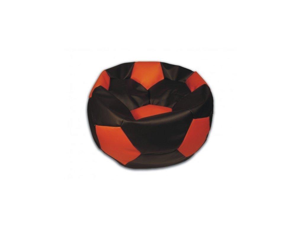 Sedací vak fotbalový míč černo/oranžový koženkový Pepe, 90cm