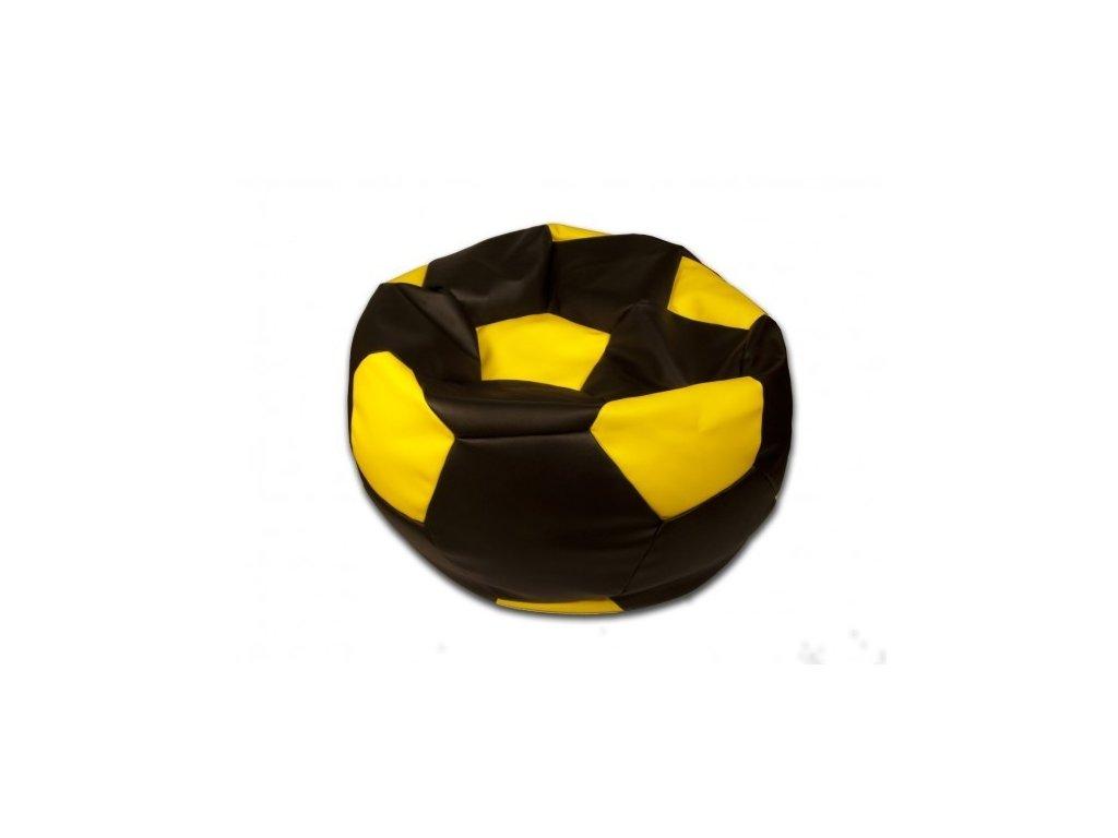 Sedací vak fotbalový míč černo/žlutý koženkový Pepe, 90cm