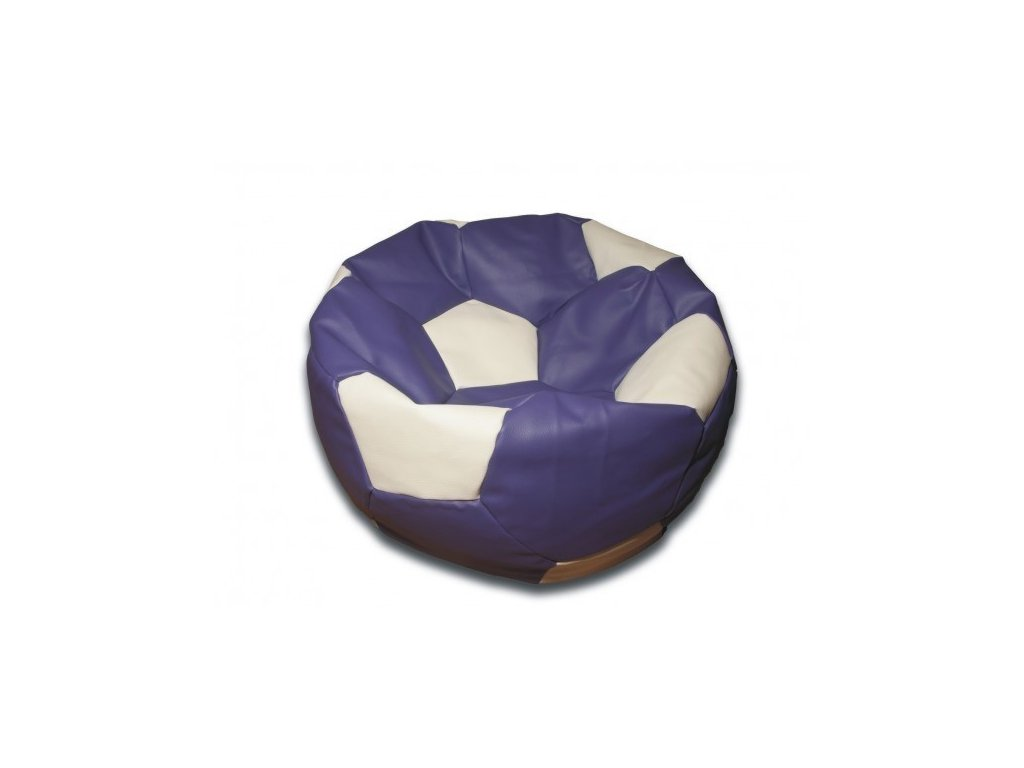 Sedací vak fotbalový míč fialovo/bílý koženkový Pepe, 90cm