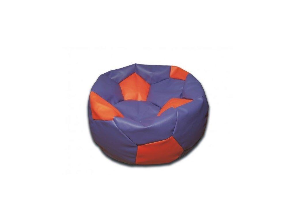 Sedací vak fotbalový míč fialovo/oranžový koženkový Design-domov, 90cm