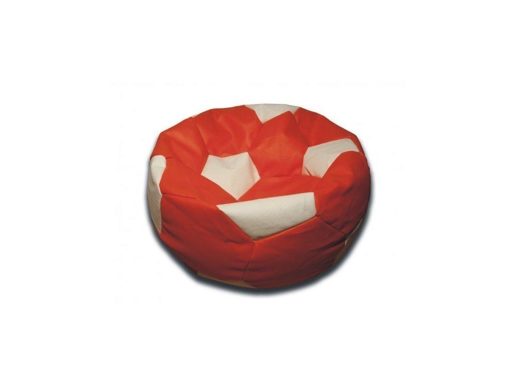 Sedací vak fotbalový míč oranžovo/bílý koženkový Pepe, 90cm