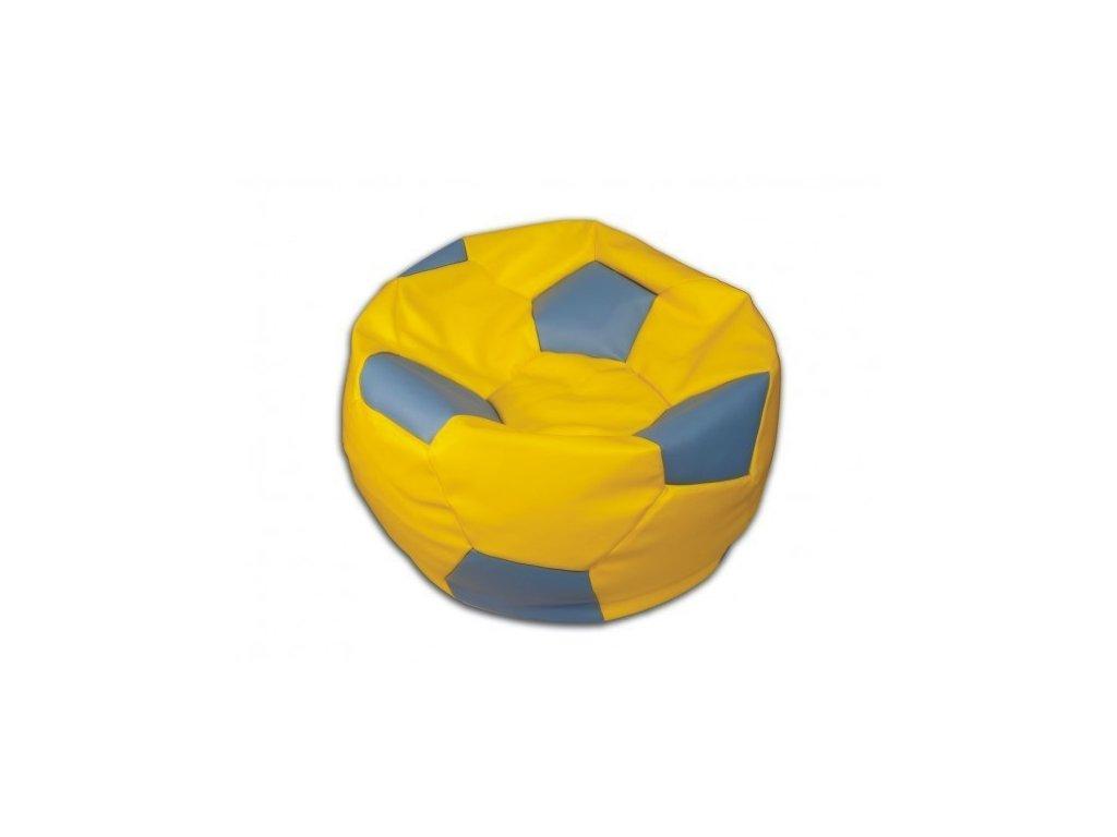 Sedací vak fotbalový míč žluto/modrý koženkový Pepe, 90cm