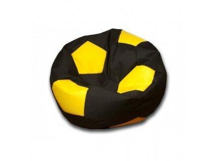 Sedací vak velký fotbalový míč černo/žlutý Pepe, 90cm