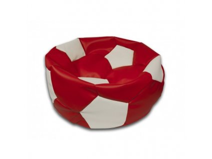 Sedací vak fotbalový míč červeno/bílý koženkový Design-domov, 75cm
