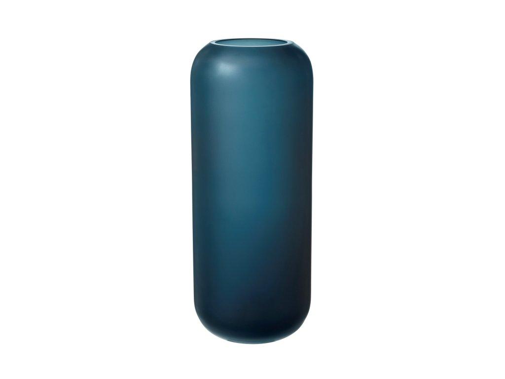 0042420 sklenena vaza ovalo 30 cm modra mat 0
