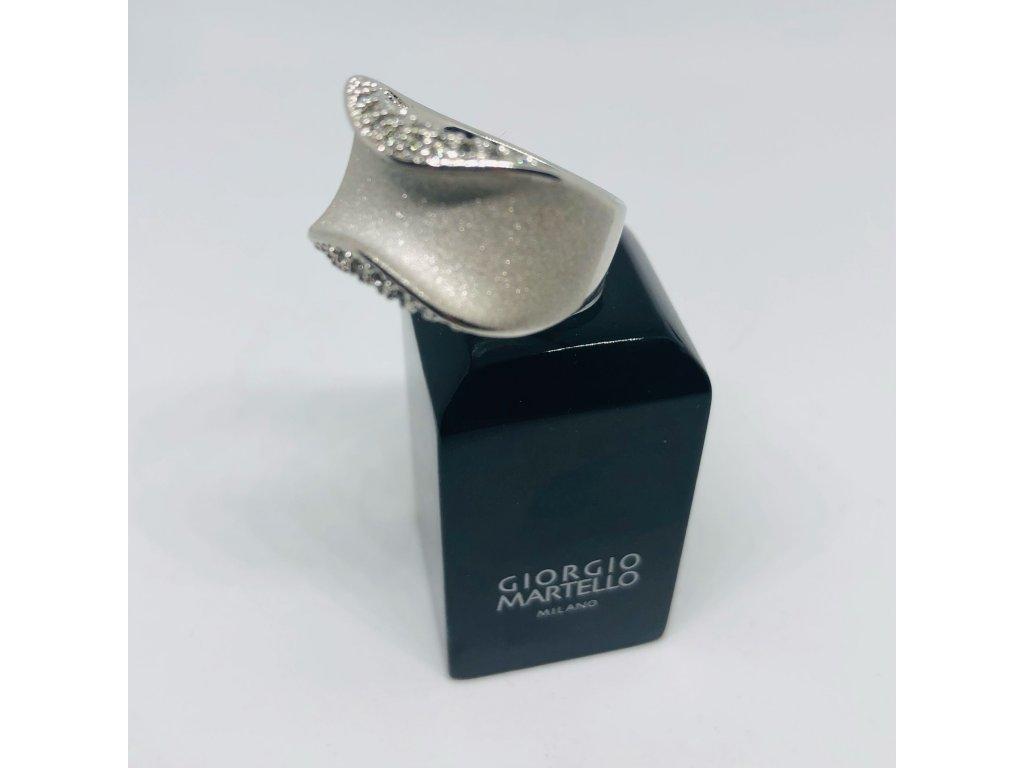 Strieborný prsteň matný+kamienky