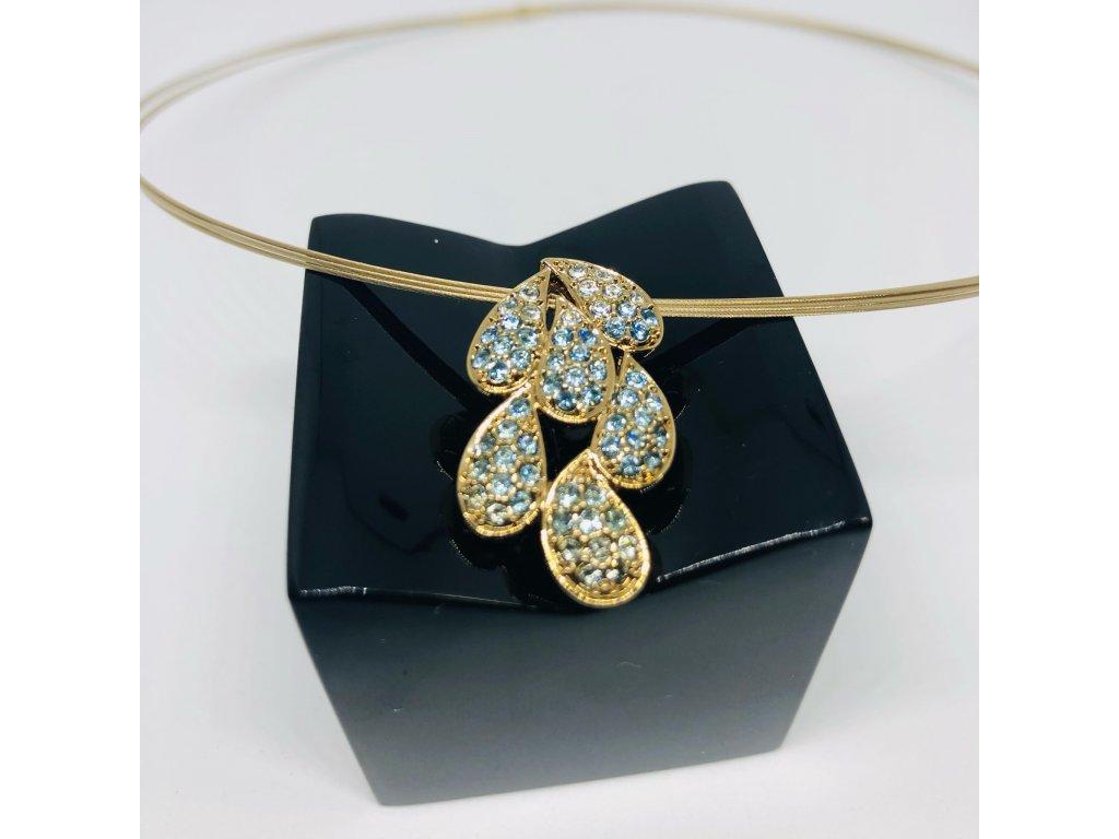 Zlatý náhrdelník s prívesko s tyrk. kamienkom 1