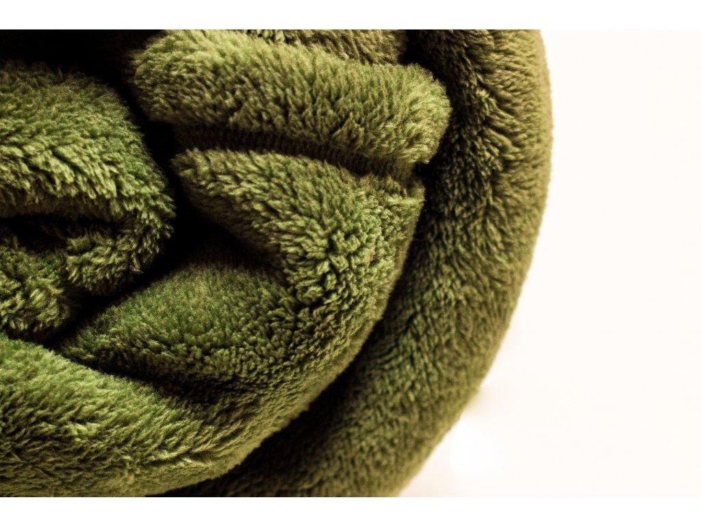 Flísová deka Home Design, zelená olivová 140x200 cm