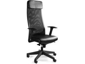 Kancelářská židle UN-613BL, pravá kůže - 1