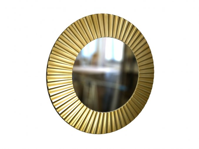 kulate zrcadlo lea 90cm zlata barva cerna patina 01
