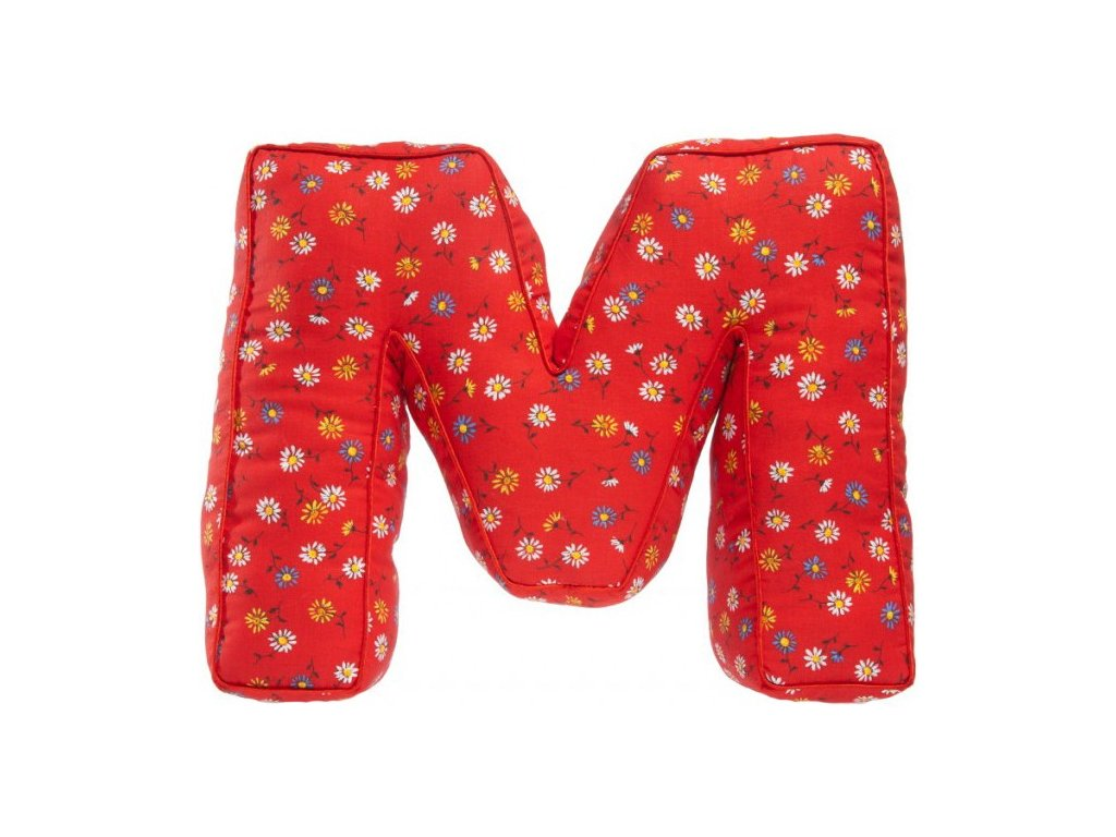 Červené písmeno M s kytičkami