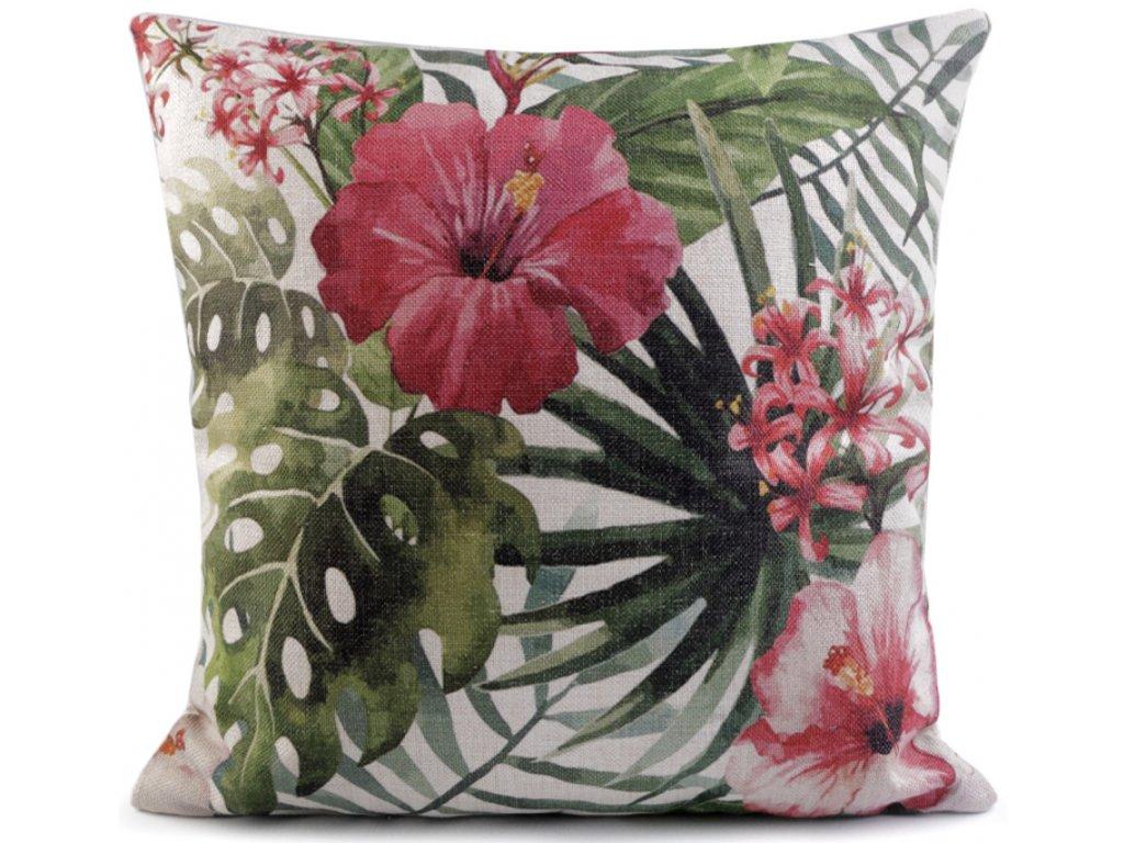 Povlak polštáře s tropickými květy