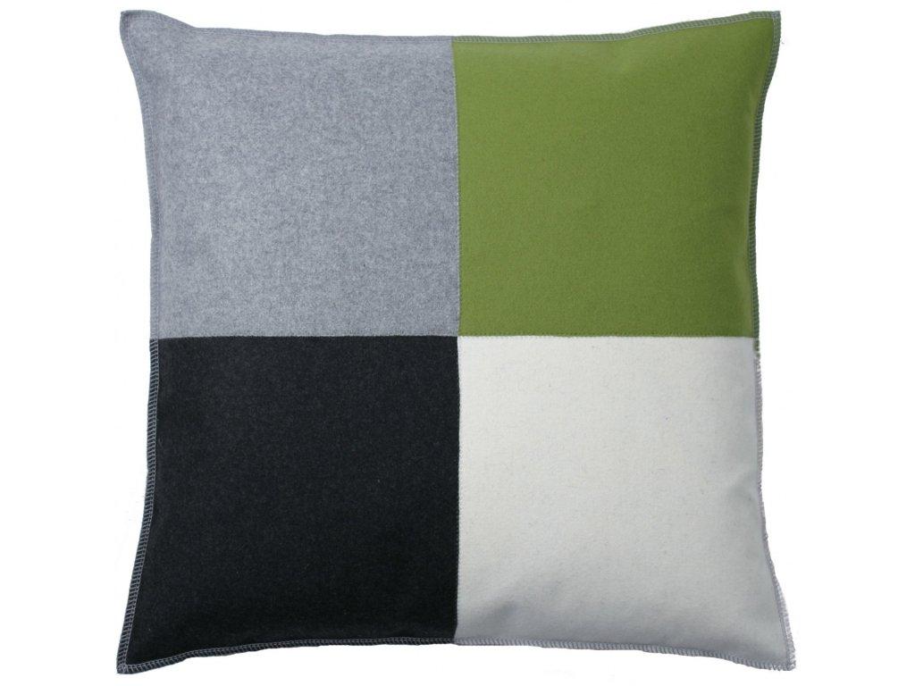Šedo-zelený polštář Schack