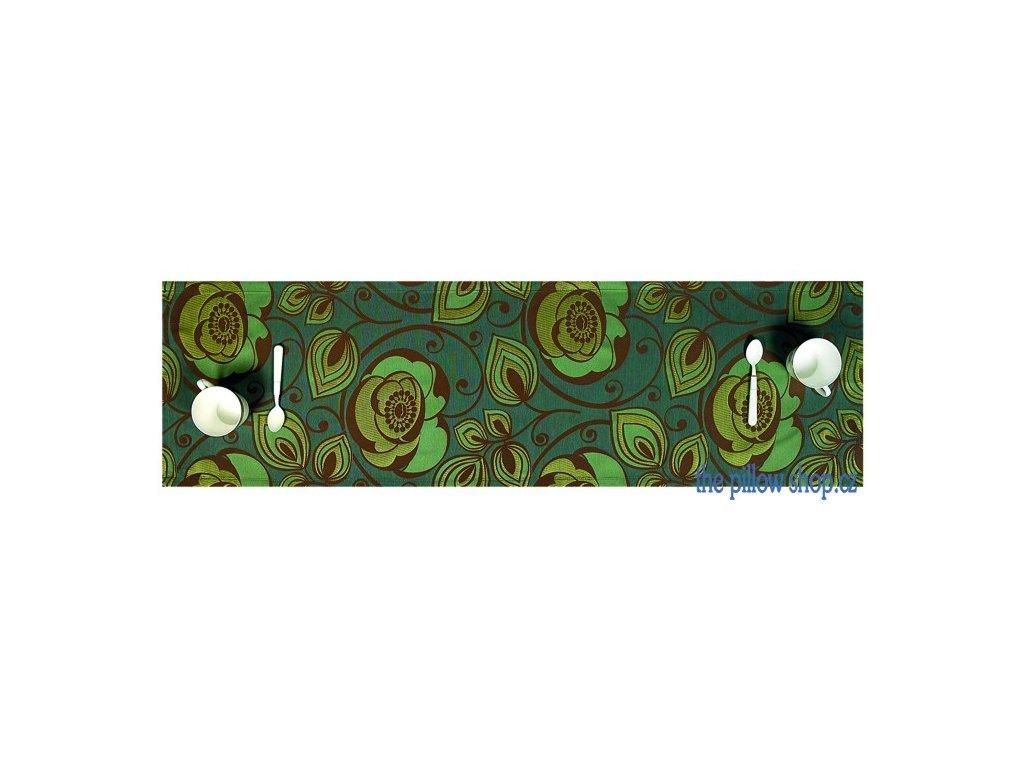 Úzký zelený ubrus Camelia