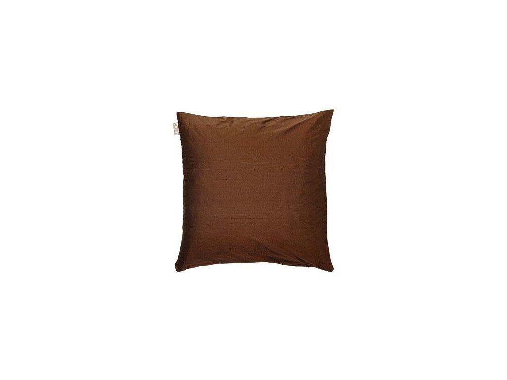 Tmavě hnědý polštář Dupion