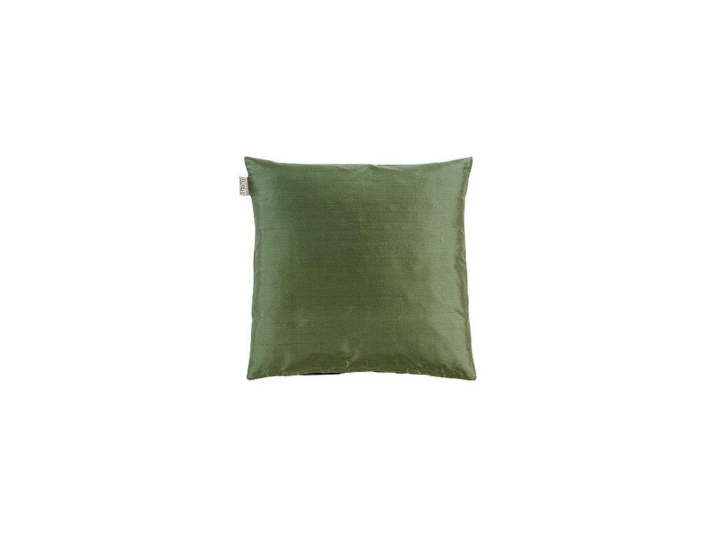 Tmavý zelený polštář Dupion
