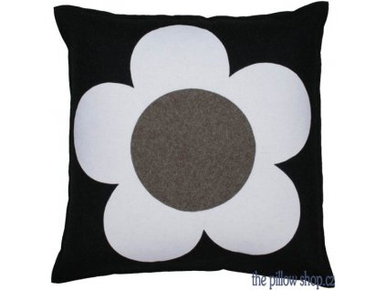 Šedý vlněný polštář Flower