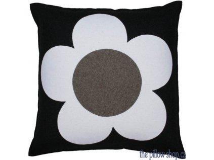 Šedý vlněný povlak polštáře Flower