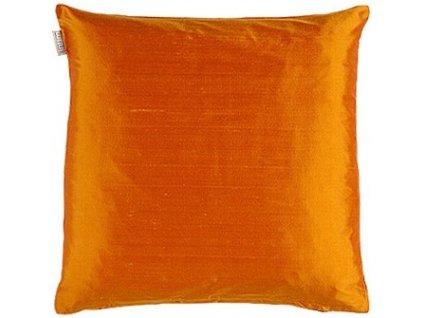 Oranžový polštář Dupion