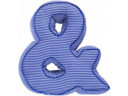 Písmeno & s modrými proužky