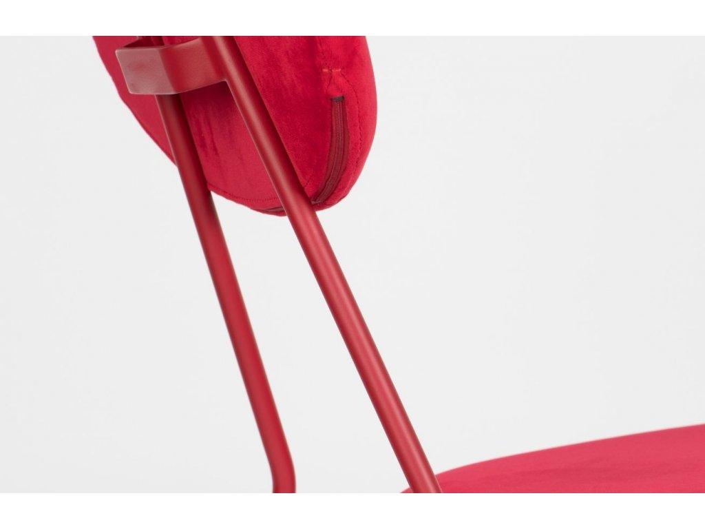 Červená sametová jídelní židle Bold Monkey Kiss The Froggy