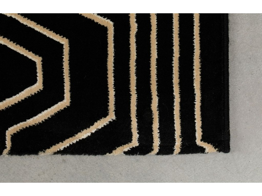 Tkaný koberec s geometrickým vzorem Bold Monkey Swining Lines 160x230 cm, černá barva