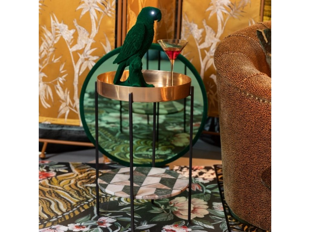 Kovový odkládací stůl s mramorovou deskou Bold Monkey Another Marble, bronzová, černá barva