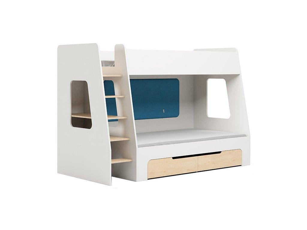 Modrá dětská patrová postel DEVOTO Nimbo II. s úložným prostorem