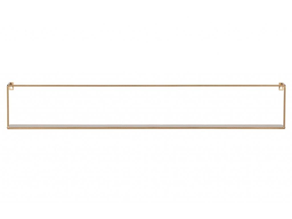 Zlatá kovová police Antique 100 cm s kovovou konstrukcí