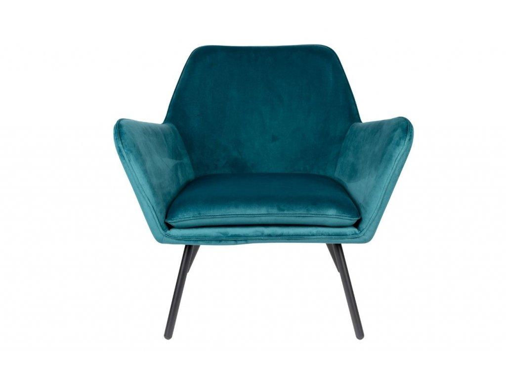 Modré sametové lounge křeslo WLL BON