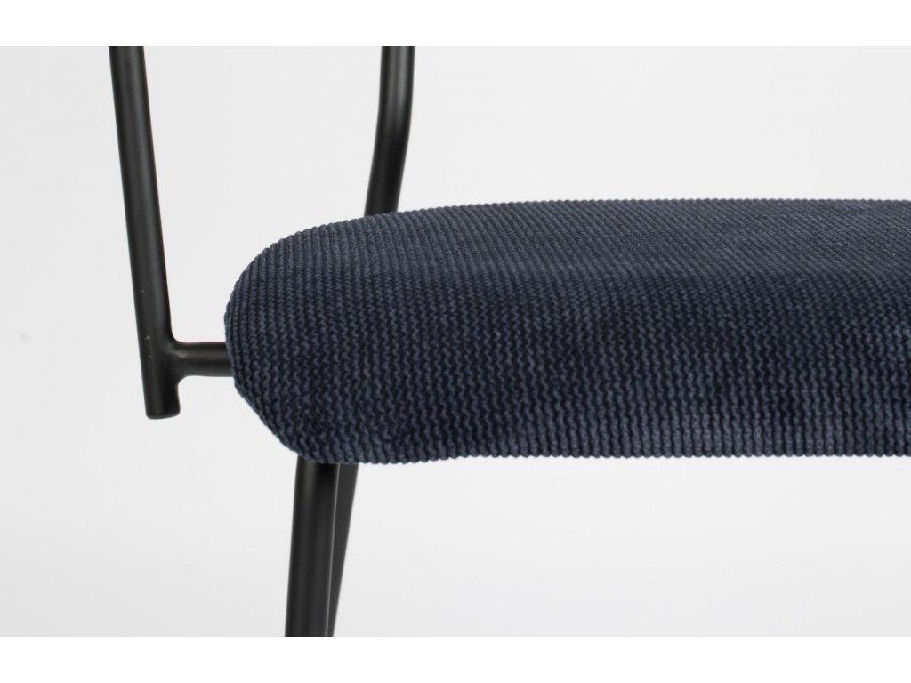 Tmavě modrá látková židle ZUIVER BENSON s područkami