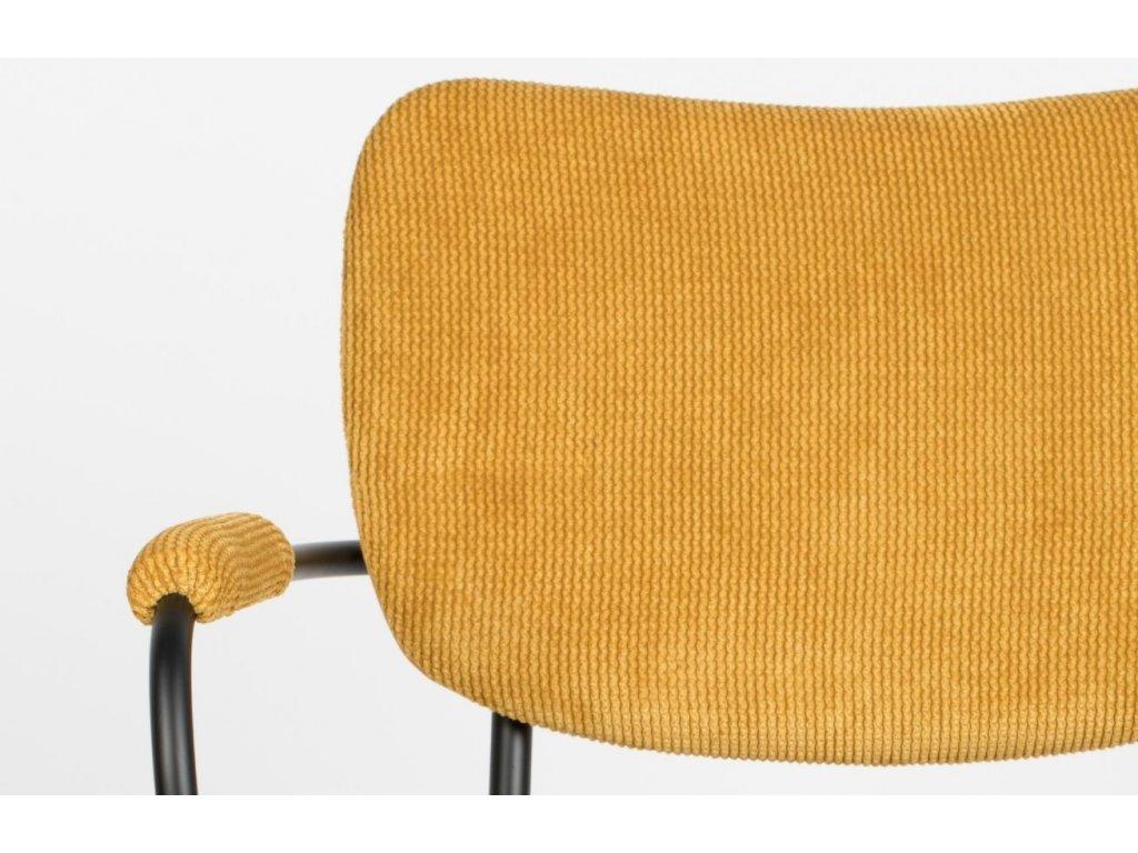 Okrová čalouněná židle ZUIVER Benson s područkami