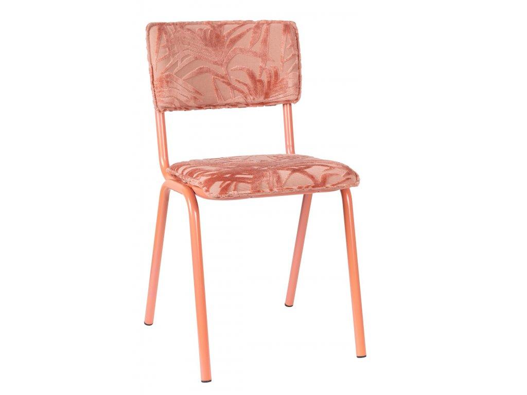 Růžová látková jídelní židle ZUIVER BACK TO MIAMI s palmovým motivem