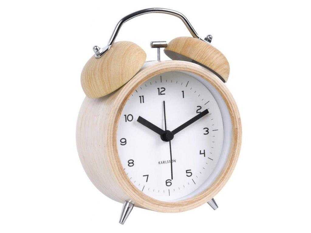 Bílý dřevěný budík Bell