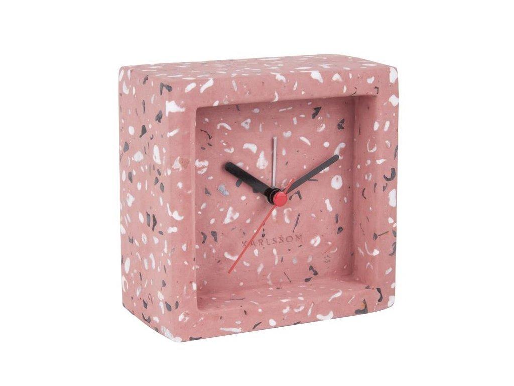 Růžové terrazzo stolní hodiny Corky