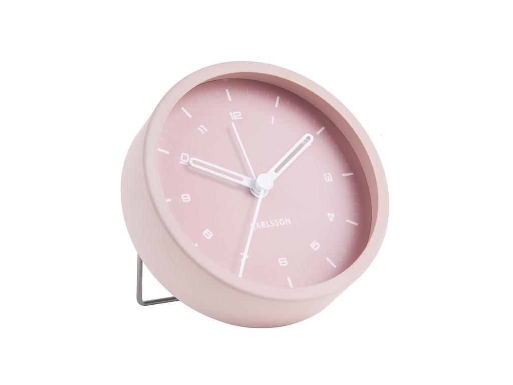 Světle růžový kovový budík Egare