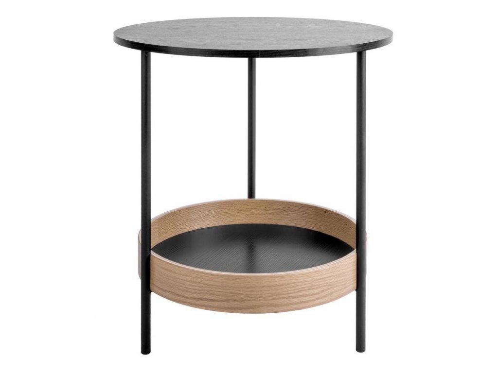 Černý kovový odkládací stolek Tans s dřevěnou deskou