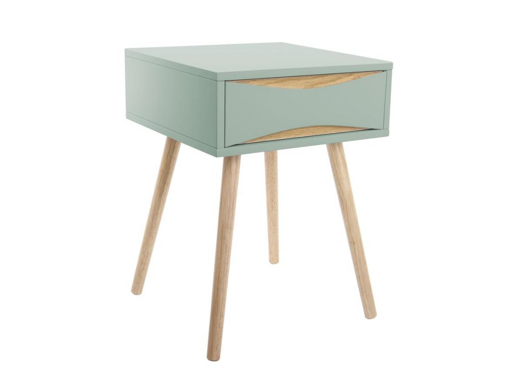 Mentolově zelený dřevěný noční stolek Valentino I. s dřevěnou podnoží