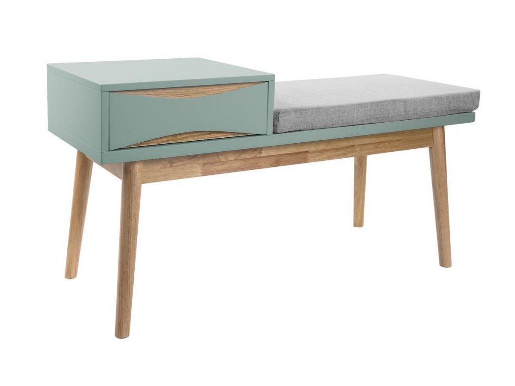 Mentolově zelená dřevěná lavice Valentino s čalouněným sedákem s úložným prostorem