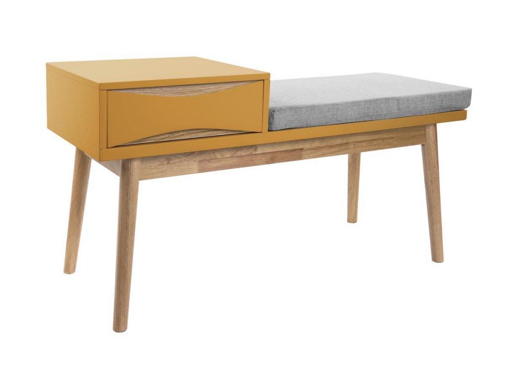 Okrová lavice Valentino s úložným prostorem se šuplíkem ze dřeva s čalouněným sedákem
