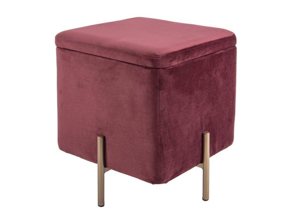 Bordový sametový čalouněný taburet Sullivan L s kovovou podnoží