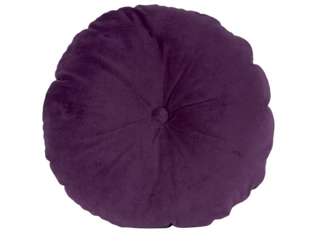 Fialový kulatý sametový polštář Aume