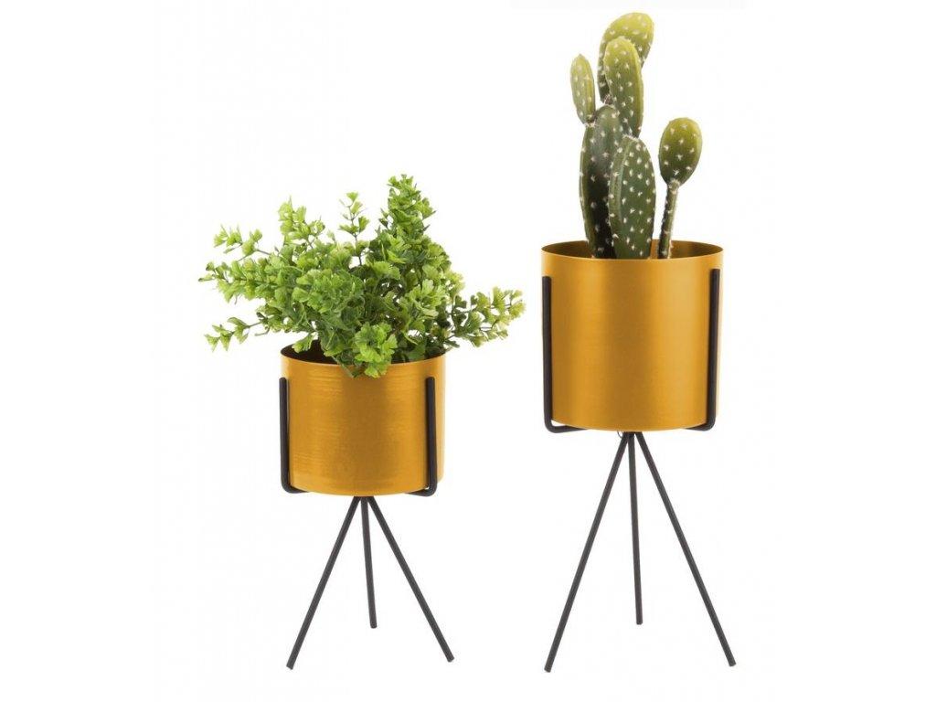 Set dvou okrově žlutých kovových květináčů Prince s černou kovovou podnoží
