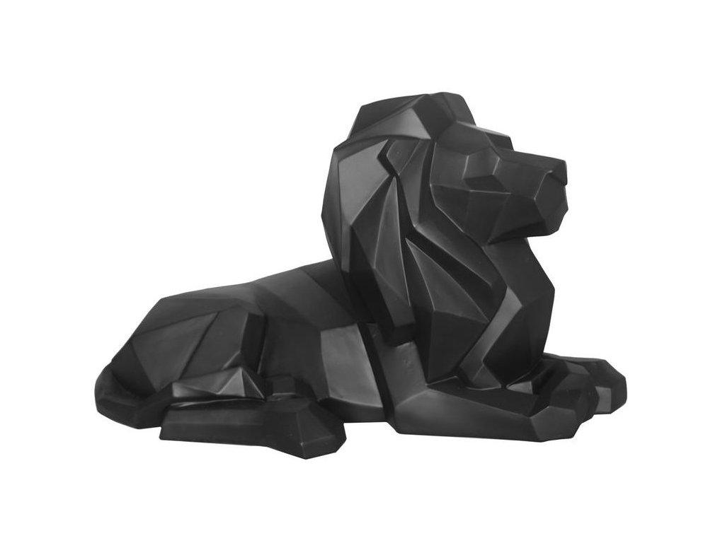 Černý dekorativní ležící lev Origami