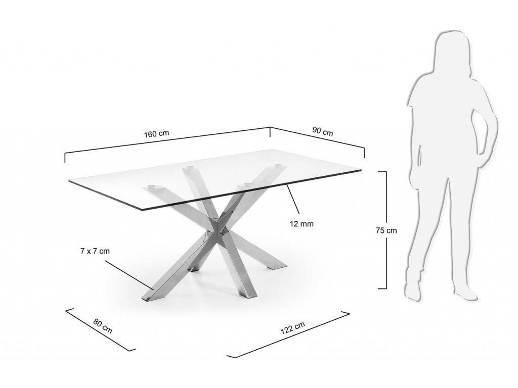 Skleněný jídelní stůl LaForma Arya 160x90 cm s kovovou podnoží