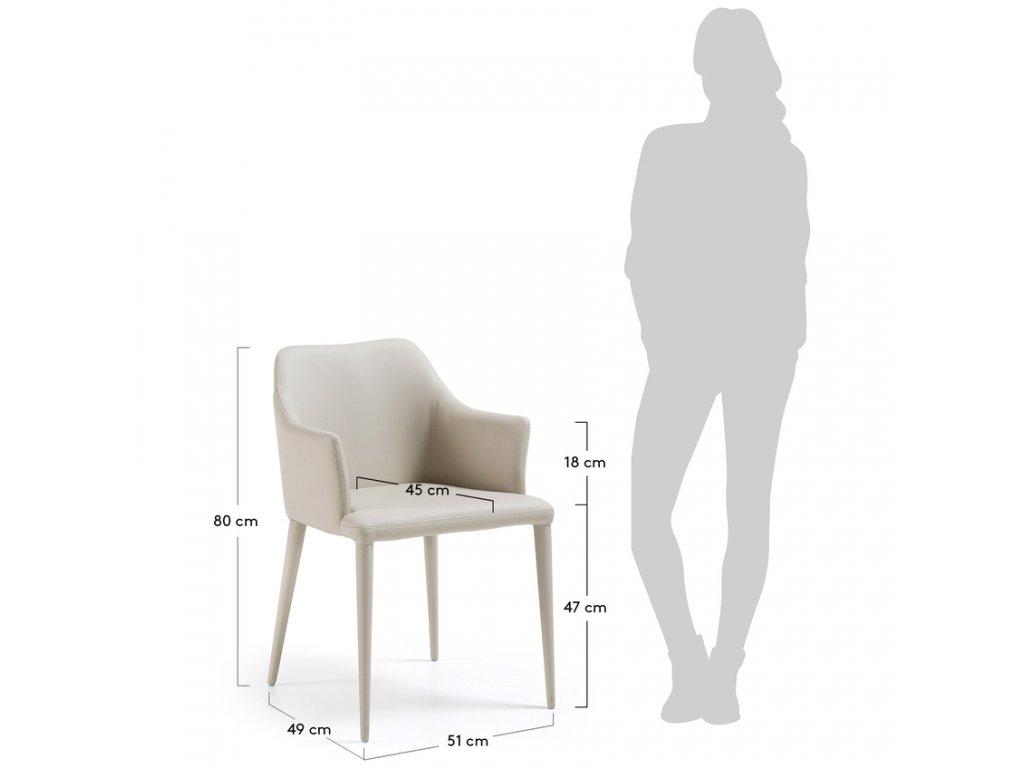 Béžová koženková jídelní židle LaForma Danai III.